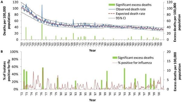Influenza is responsible for 11 out of the 12 peaks of deaths from 1972 to 2003
